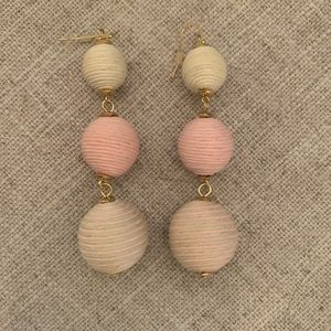Hanging pink, mint green and ivory earrings